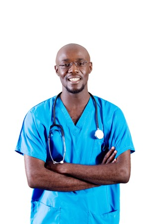 young male african doctor in hospital photo