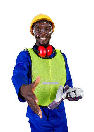 blue collar: friendly male african construction worker Stock Photo