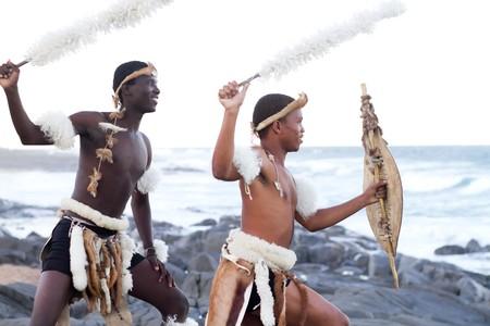 african tribe: african zulu man on beach
