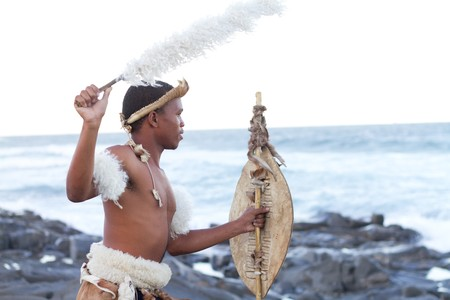 warrior tribal: zulu man on beach
