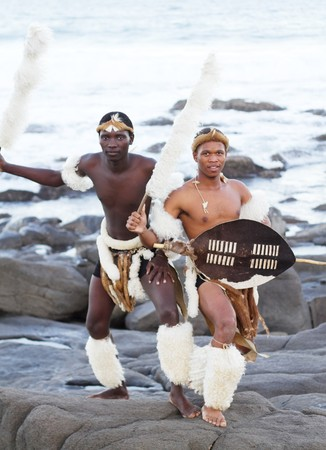 african zulu man posing on beach photo