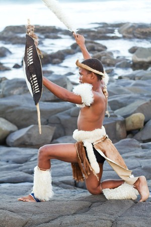 african warriors: african zulu man on beach