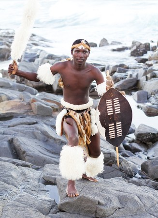 african warriors: african zulu man