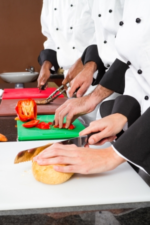 chefs preparing food in commercial kitchen photo