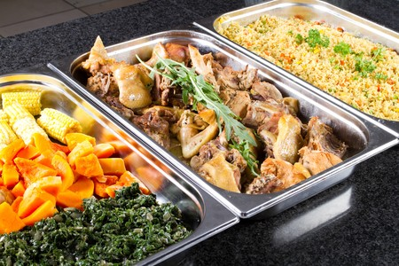 lunch tray: buffet style food in trays Stock Photo