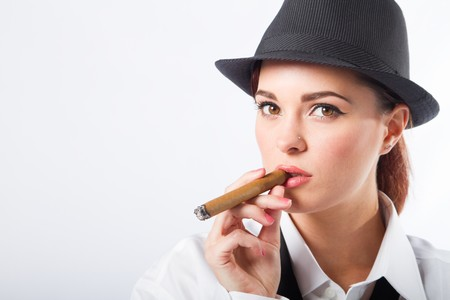 fedora hat: sexy woman smoking cigar