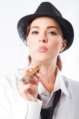 fedora hat: young woman smoking cigar