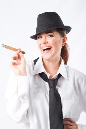 fedora hat: happy woman smoking cigar