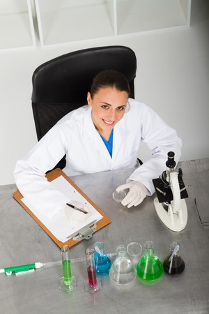 overhead view of scientist in lab Stock Photo - 7517059
