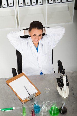 pretty lab technician relaxing Stock Photo - 7517055