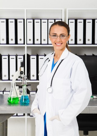 beautiful chemist in lab photo