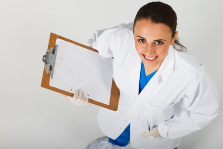 young nurse looking up photo