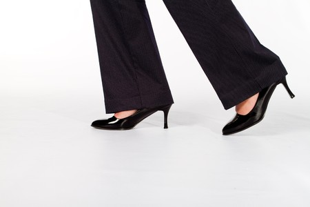 business woman legs: businesswomans shoes Stock Photo