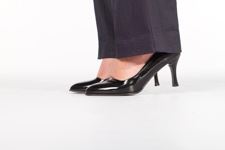high heels woman: close-up of businesswomans shoes