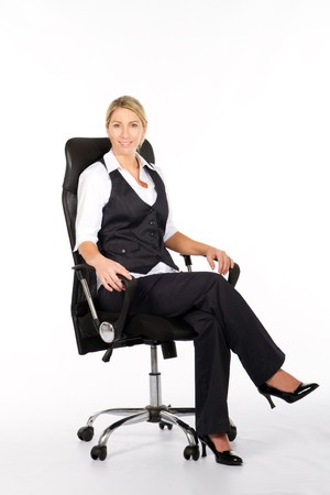 ofis koltuğu: businesswoman sitting on office chair