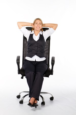 businesswoman relaxing on office chair photo