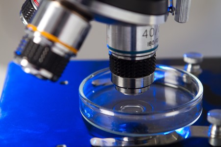 analytical chemistry: microscope in laboratory Stock Photo