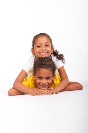 innocent girl: young brother and sister pyramid Stock Photo