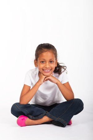 bambini pensierosi: ragazza studiano indiana  Archivio Fotografico