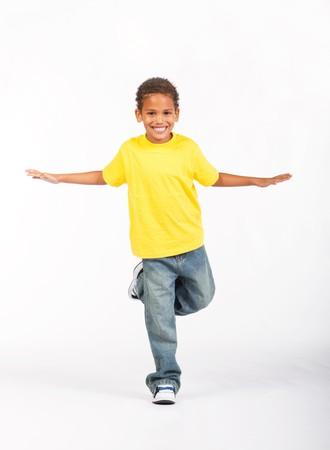 preteen asian: indian boy having fun on white background