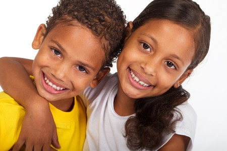 biracial: african american brother and sister close-up