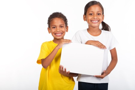 african brother and sister holding a white board photo