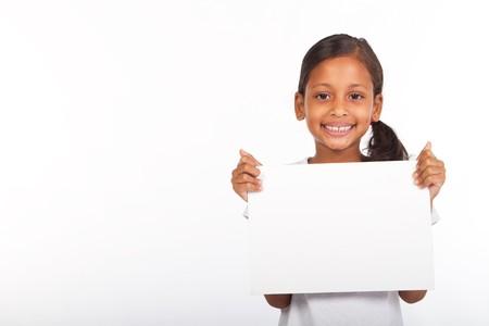 indian girl holding whiteboard photo