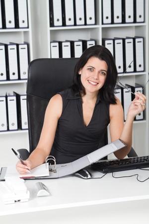happy businesswoman working Stock Photo - 7642605