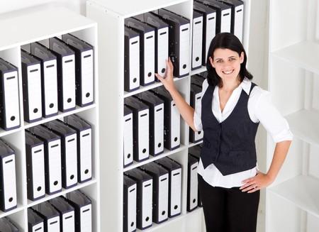 happy businesswoman in office photo