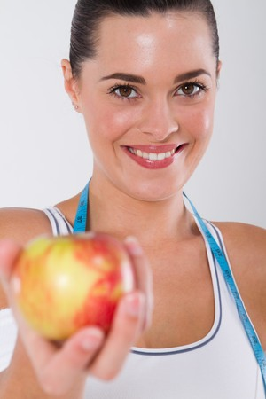 healthy woman holding apple Stock Photo - 7639066