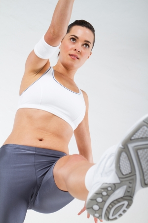 muscle toning: overhead of fitness woman working out