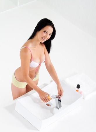 woman in bathroom photo