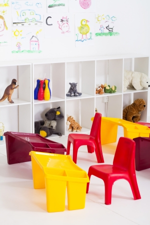 preschool classroom: empty preschool classroom Stock Photo