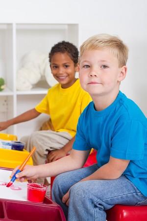 happy preschool kids in class Stock Photo - 7795730