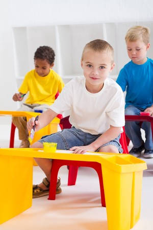 happy preschoolers painting Stock Photo - 7795743
