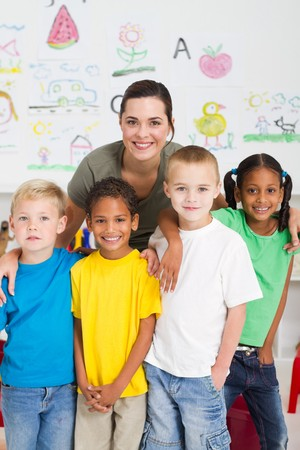 young teacher and kindergarten students Stock Photo - 7795777