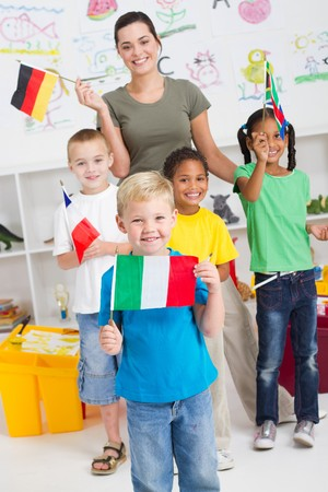 cute italian preschooler and diverse classmates Stock Photo - 7795725