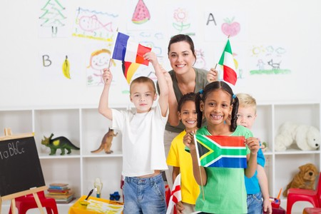 south african girl with diverse classmates in background Stock Photo - 7795745
