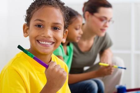 happy indian preschool boy photo