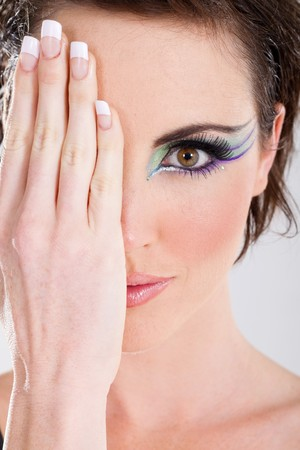 hands covering eyes: female beauty