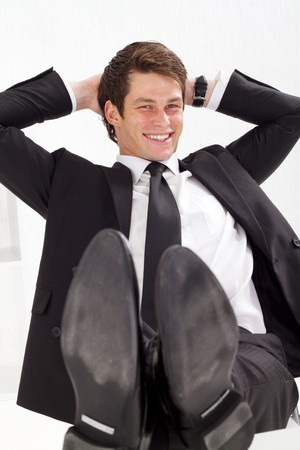 handsome businessman relaxing photo