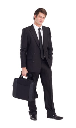 black briefcase: portrait of handsome young businessman on white Stock Photo