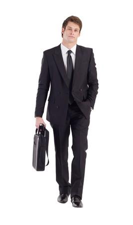 case: empresario caminando hacia adelante sobre blanco
