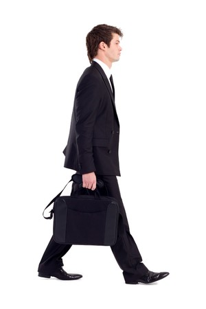 black briefcase: profile of businessman walking on white