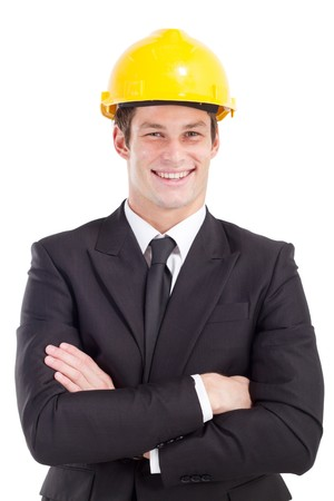 executive helmet: businessman wearing construction hard hat Stock Photo