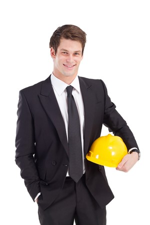 executive helmet: construction businessman