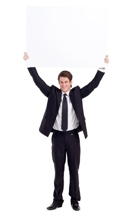 businessman holding whiteboard over his head photo