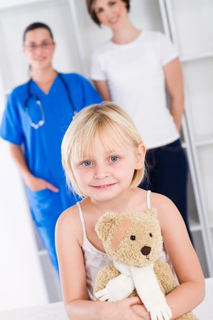 little girl and mother in doctors office Stock Photo - 7945778