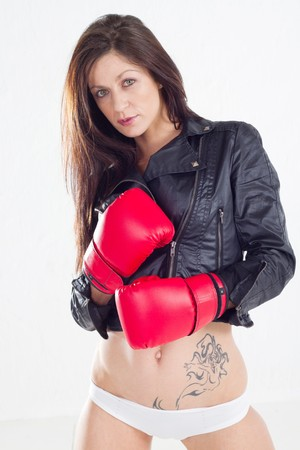 sexy woman in leather jacket photo