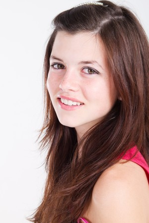 teen girl face: portrait of gorgeous natural teen girl
